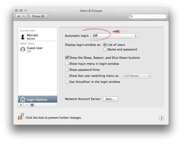 OS X System Preferences auto login