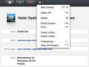 MobileMe - import i eksport vCard