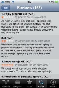 Opinie w AppStore
