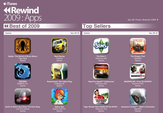 iTunes Rewind 2009 Apps