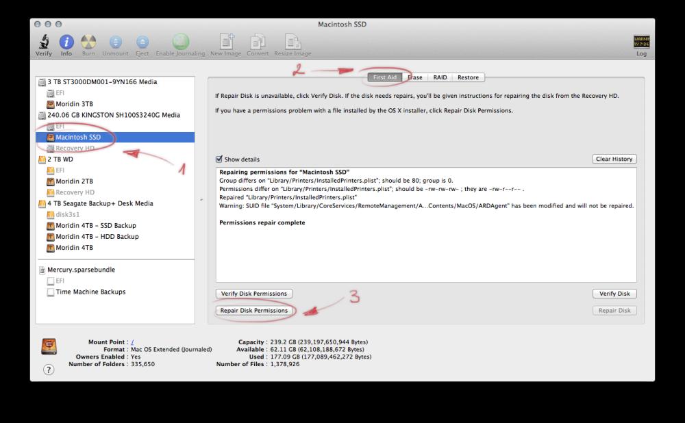 OS X disk utility permissions repair