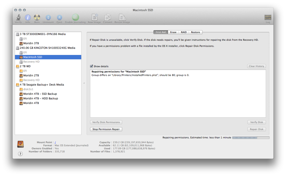 OS X disk utility permissions repair working