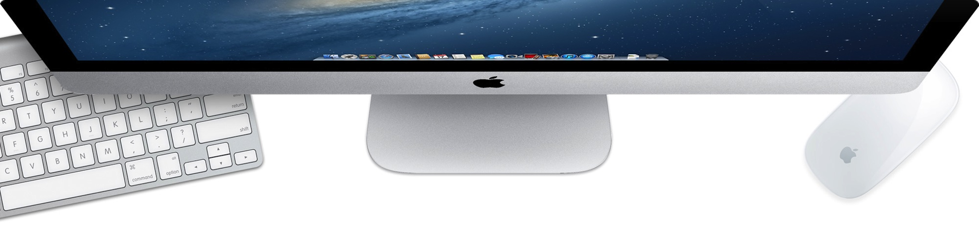 iMac 27 from top with keyboard and mouse