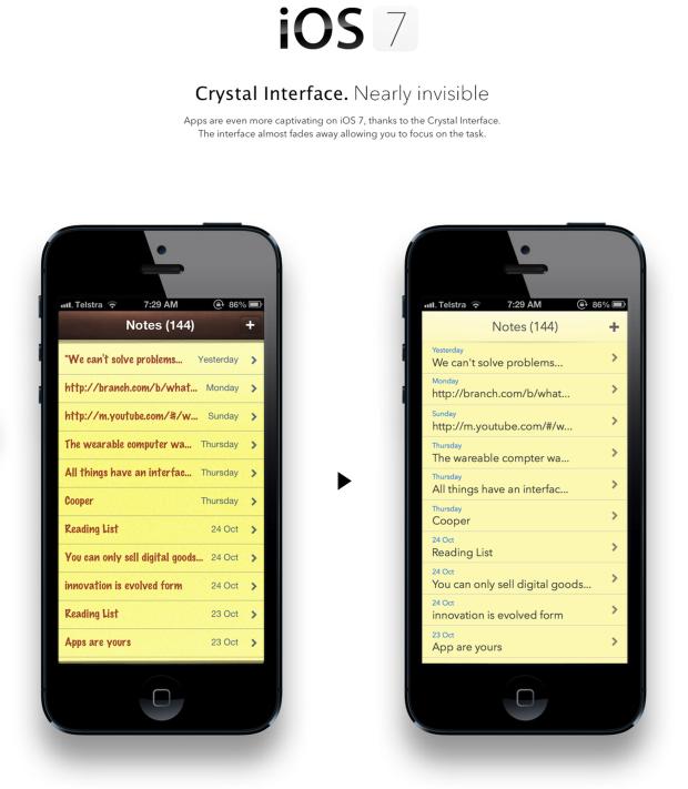 iOS7 notes mockup
