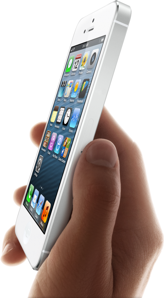 iPhone 5 white in hand