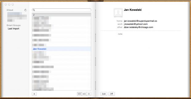 OS X ML Contacts Jan Kowalski