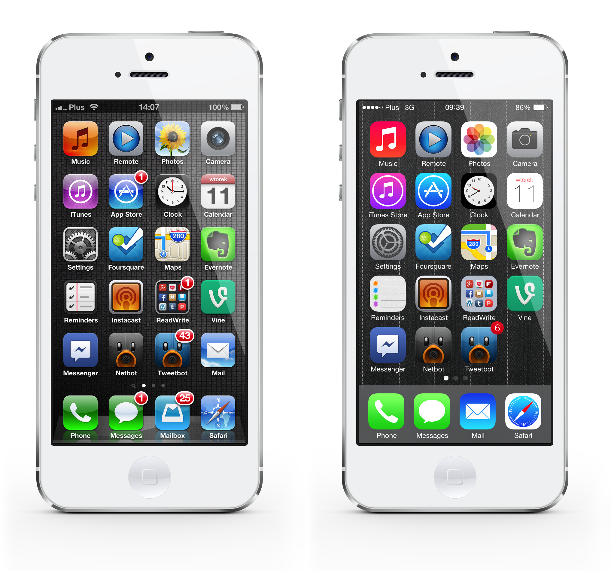 iOS 6 vs 7 homescreen