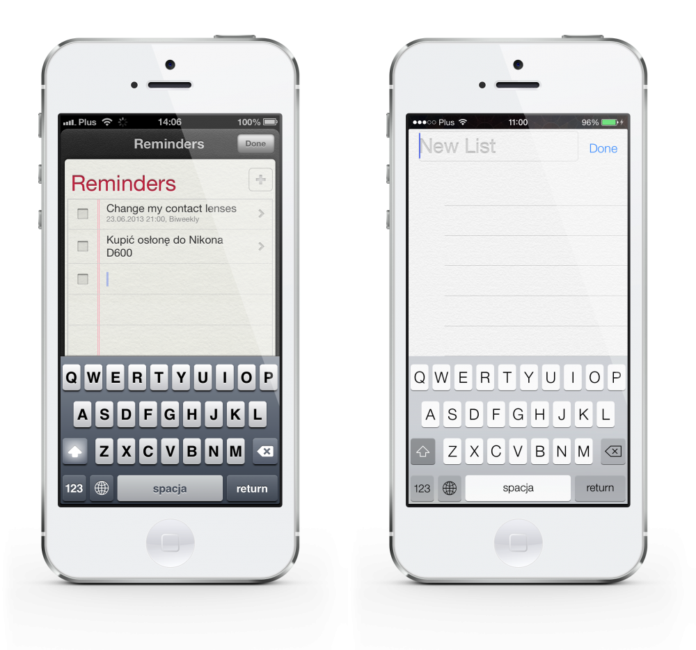 iOS 6 vs 7 keyboard reminders