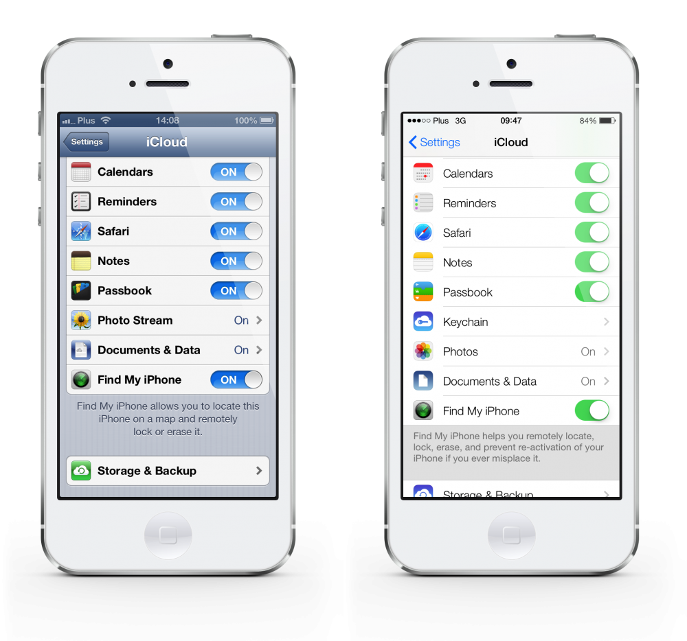 iOS 6 vs 7 settings