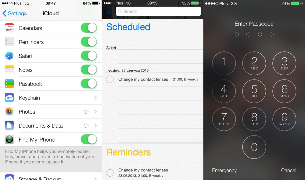 iOS 7 Settings Reminders Lockscreen