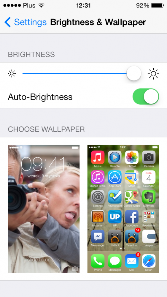 iOS 7 beta 4 Usage Brightness and Wallpaper