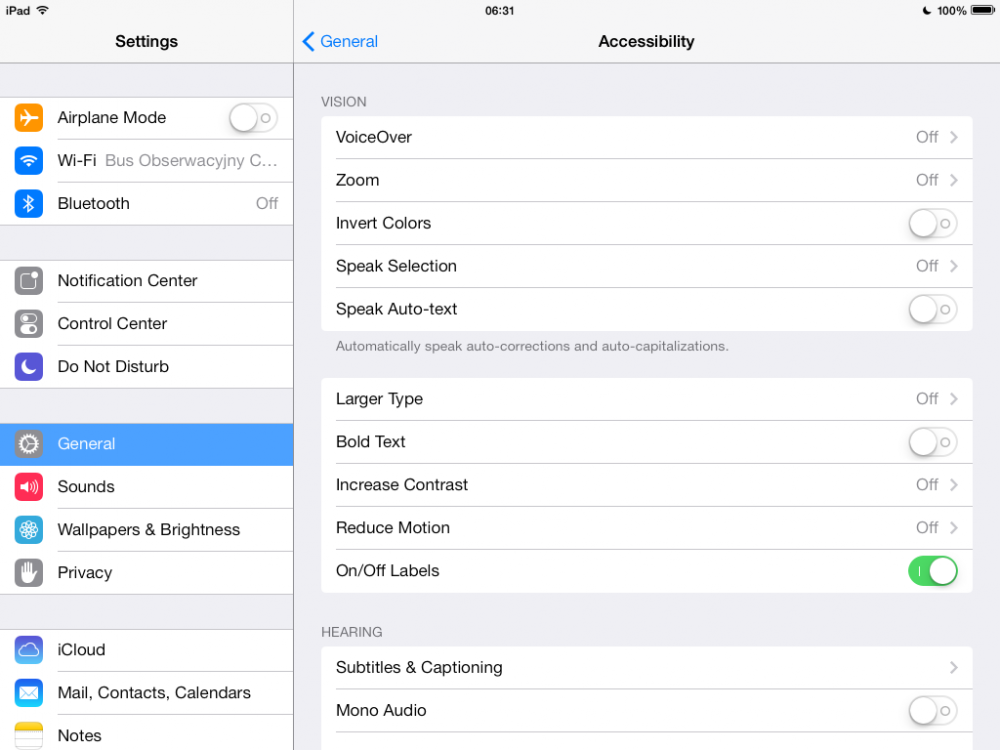iOS 7 beta 5 settings