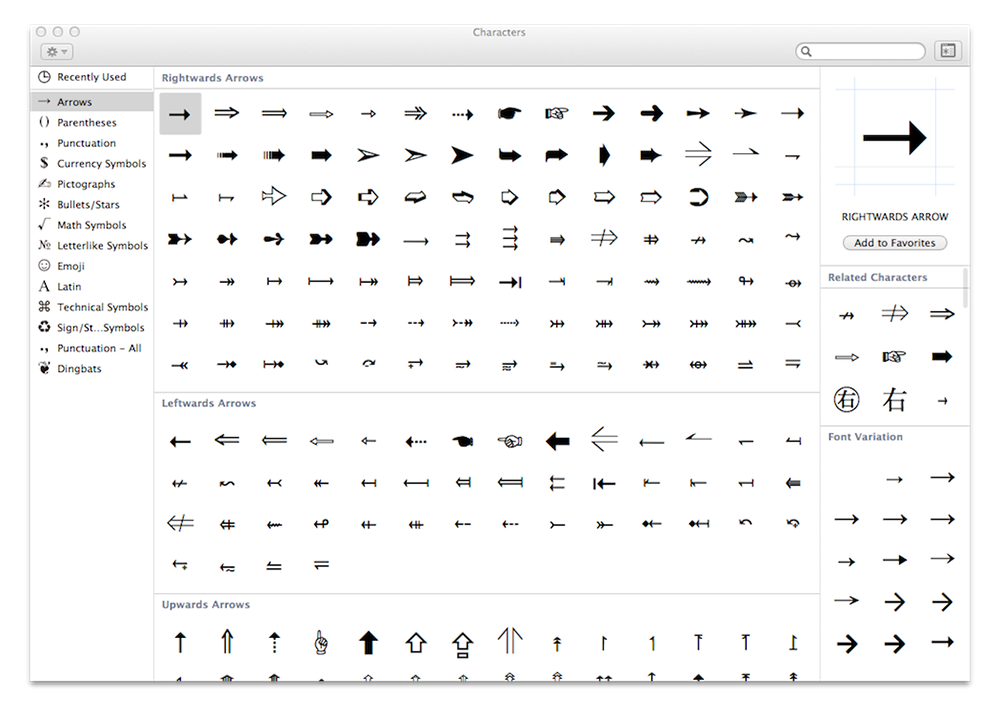 OS X Mavericks Character Viewer