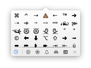 OS X Mavericks Emoji Shortcut Window