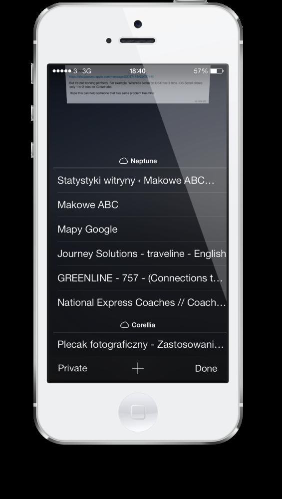 Safari iOS 7 iCloud tabs