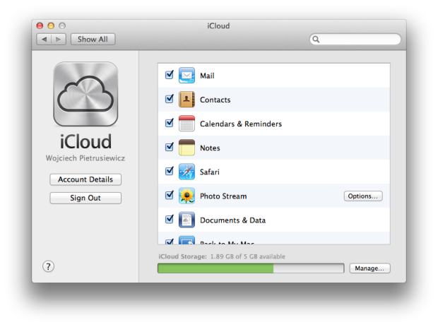 iCloud OS X panel
