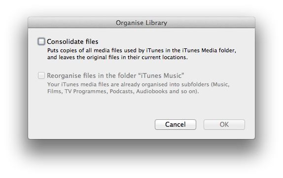 iTunes organize library