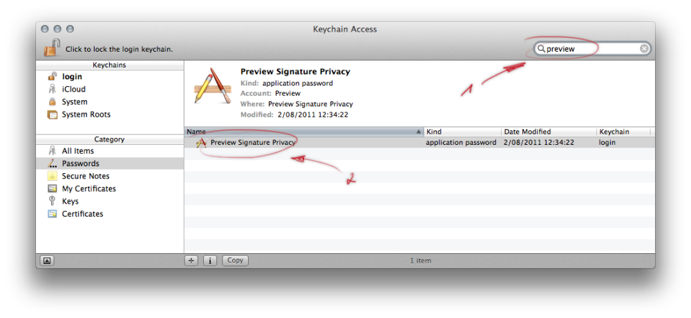 Keychain Access com.Apple.Preview password