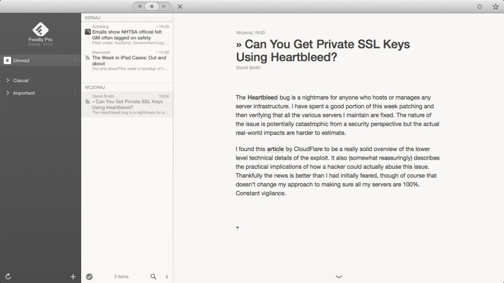 Reeder 2 Mac public beta 1