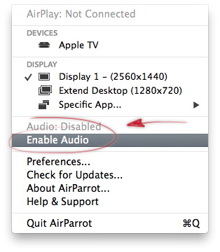 AirParrot Enable sound