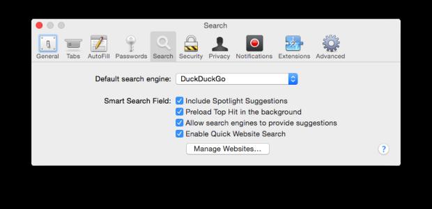 OS X Yosemite Safari prefs DuckDuckGo
