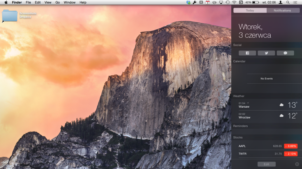 OS X Yosemite with Notification Center open on Today View