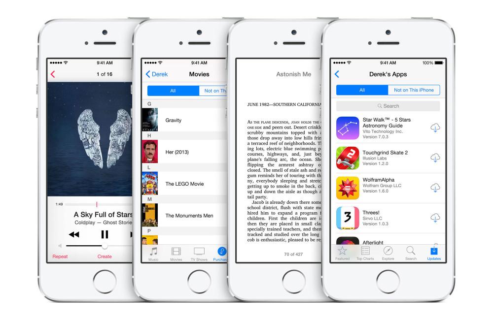 iOS 8 iTunes Store App Store iBookstore hero