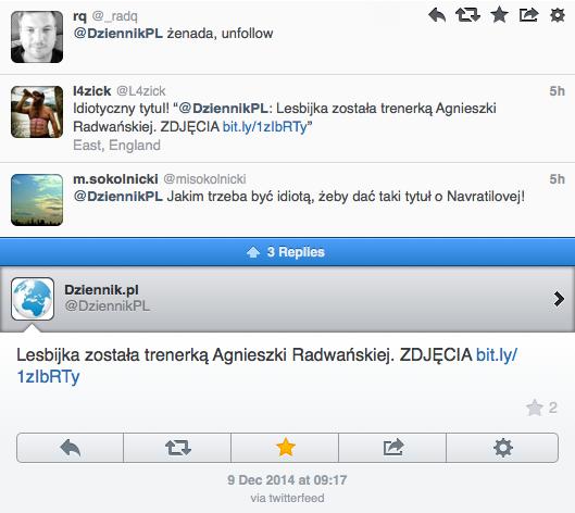 Dziennik Tweet Lesbijka Radwanska