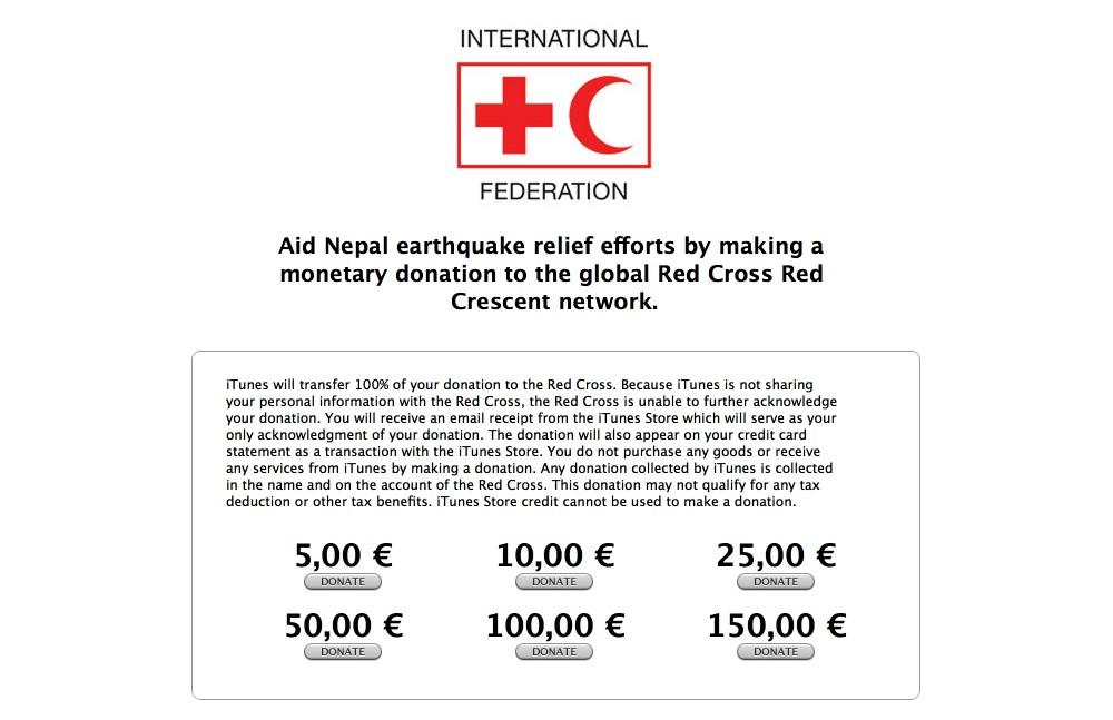 Przekaż pomoc dla Nepalu przez iTunes