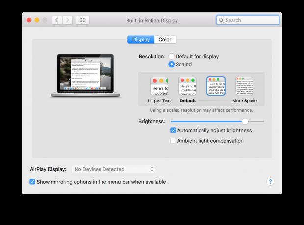 OS X El Capitan Sys Prefs Ambient Light