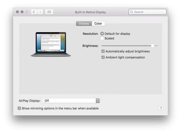 OS X El Capitan b6 ambient light compensation