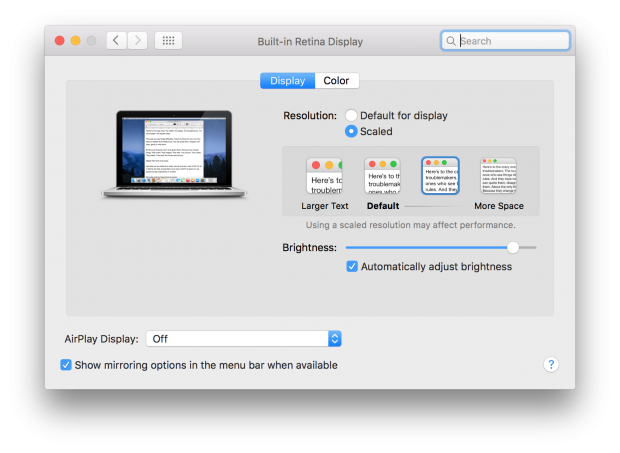 OS X El Capitan beta 7 Display Prefs 2