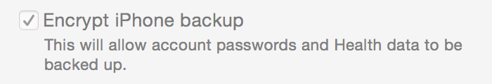 iTunes backup encrypt