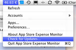 App Expense Monitor menu bar