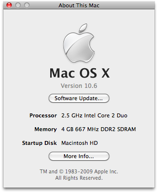 Mac OS 10.6 About