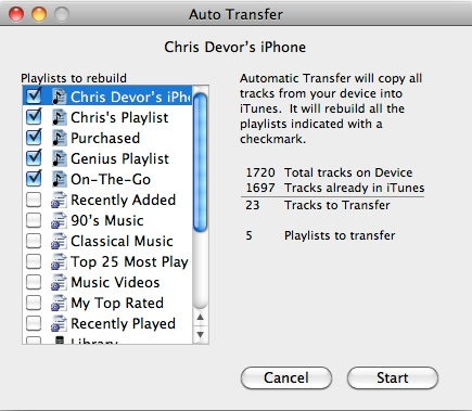 Pod to Mac 3 Auto Transfer