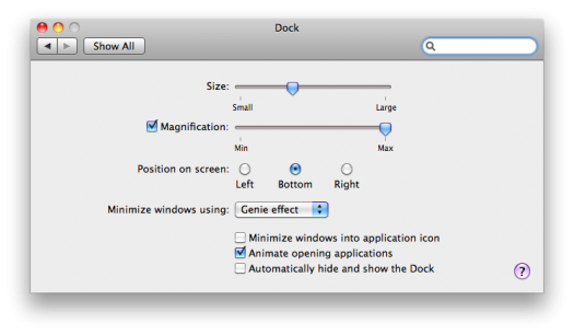 SL - minimize to app in dock