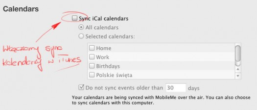 iTunes - sync iCal